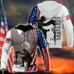 American soldier stand for the flag kneel for the fallen 3d t shirt hoodie sweater