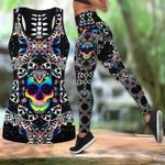 Colorful skull kaleidoscope pattern yoga set 3d t shirt hoodie sweater