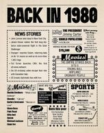 1980 birthday gift backin 1980 newspaper 40th birthday gift40th party decoration 40thbirthday sign born in 1980