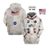 Astronaut uniforms custom name and flag tshirt