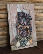 3 pug puppy painting poster