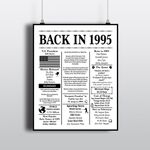 1995 Back In 1995 Black White Birthday 1995 Facts poster canvas