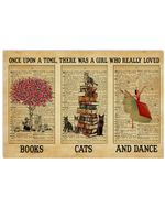 A Girl Who Loved Books Cats Dance Horizontal Poste poster canvas