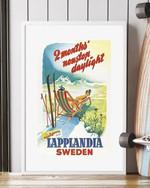 2 Months Nonstop Daylight Lapplandia Sweden Vintage poster canvas