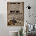 American Football Mom To Son Never Lose poster canvas