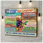 12 Resons To Learn Sign Language You Get Useful Skill For Employment Colorful I Love You HSign poster canvas