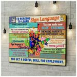 12 Reasons To Learn Sign Language You Get Useful Skill poster canvas