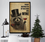 Easily Distract By Raccoon And Wine Drinking Raccoon Dictionary Canvas
