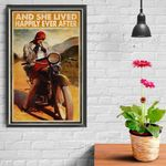 Biker Girl And She Lived Happily Ever After Poster Canvas