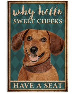 Why Hello Sweet Cheeks Brown Dachshund Poster