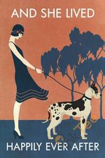 Vintage Girl She Lived Happily Great Dane Vertical Unframed Wrapped Canvas Wall Decor Poster