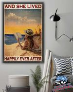Girl Read Book In The Ocean And She Lived Happily Ever After Poster Canvas
