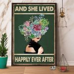 Girl & Black Cat And She Lived Happily Ever After Paper Poster No Frame Wrapped Canvas Wall Decor