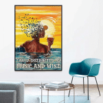 Easily Distracted By Music And Wine Swimming Girl Poster