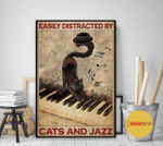 Easily Distracted By Cats And Jazz Piano Black Cat Poster