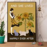 Vintage Girl & Cat Sunflower And She Lived Happily Ever After Paper Poster No Frame Wrapped Canvas