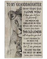 To My Granddaughter Never Forget That I Love You Lion Poster