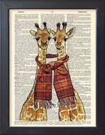 Happy Giraffes Print Dictionary Page Friendship Love Decor Gift Animal Home Furnishing