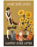 Sunflower Vintage Girl Lived Happily Maine Coon Unframed Wrapped Canvas Wall Decor