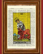 Tarot Cards Strength Major Arcana Deck Dictionary Art Print Book Picture Home Card Decor Art Work