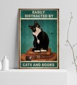 Easily Distracted By Cats And Books Tuxedo Cat Poster