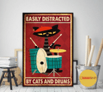 Easily Distracted By Cats And Drums Red Poster Canvas
