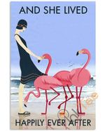 Beach And Flamingo Lived Happily Unframed Wrapped Canvas Wall Decor Poster
