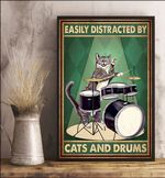 Easily Distracted By Cats And Drums Happy Cat Poster