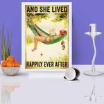 Hammock Beach Woman Fishing And She Lived Happily Ever After Poster Canvas