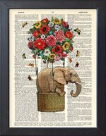 Book And Elephant Lovers Alike Flower Butterfly Happy Dictionary Home Decor Gift Art Wall