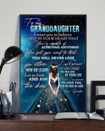 To My Granddaughter Love You For The Rest Of Mine Sparkling Dress Girl Poster