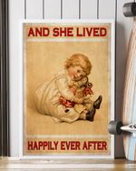 Girl Dolls She Lived Happily Ever After Children Poster Decor Go Happiness Vertical  Canvas Wall Art Home Decor