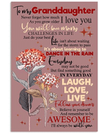 To My Granddaughter Remember To Be Awesome Pink Hydrangea Poster