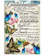 To My Granddaughter I Love You To The Moon And Back Rose And Butterfly Poster