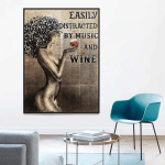 Easily Distracted By Music And Wine Afro Girl Book Page Poster