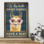Why Hello Sweet Cheeks Heart Glasses Llama Poster
