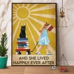 Black Cat & Books And She Lived Happily Ever After Paper Poster No Frame Wrapped Canvas Wall Decor