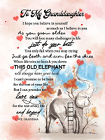To My Granddaughter Just Do Your Best Elephant Poster
