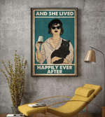 Cat Wine And She Lived Happily Ever After Poster Canvas
