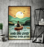 Kayak Girl And She Lived Happily Ever After Poster Canvas