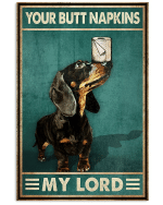 Your Butt Napkins Black Dachshund Puppy Poster