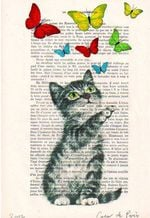 Cat Baby Play With Butterfly Dictionary Vintage Print Book Home Wall Decoration Gift For Cat Lover