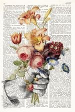 Print Hand Glove With Flowers Botanical Dictionary Gift Home Furnishing