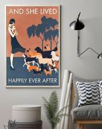 Dog Lovers And She Lived Happily Ever After Poster No Frame Framed Canvas Wall Decor