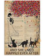 Vintage Dictionary Lived Happily Black Cats Unframed Wrapped Canvas Wall Decor