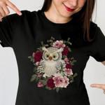 Owl on the flower roses lovely birthday gift family gift t shirt