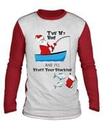 Tug my rod and i'll stuff your stocking santa claus crhistmas fishing gift sweater