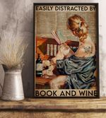 Easily Distracted by Book And Wine Reading Girl with a tattoo poster