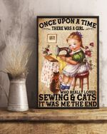 Once Upon A Time Cat Sewing Baby and her cat Poster