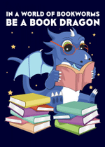 Bookworm Book Dragon Poster